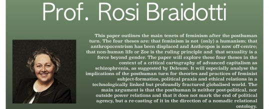 "Prof. Rosi Braidotti 講演会 ""FOUR THESES ON POSTHUMAN FEMINISM"""